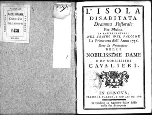 L'isola disabitata, dramma pastorale per musica da rappresentarsi nel Teatro del Falcone la primavera dell'anno 1756 sotto la protezione delle nobilissime dame e de' nobilissimi cavalieri