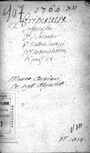 Sofonisba, dramma per musica del sig. Mattia Verazzi poeta e secretario [!] [...]. Da rapprresentarsi nel Teatro Vendramino di S. Salvatore la fiera dell'anno 1764. Dedicato a [...] Catterina Loredan Mocenigo