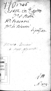 Cesare in Egitto, dramma per musica da rappresentarsi nel Teatro Giustinian di S. Mosè l'autunno dell'anno 1746