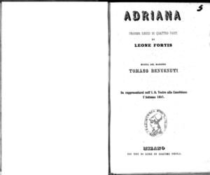 Adriana : dramma lirico in quattro parti