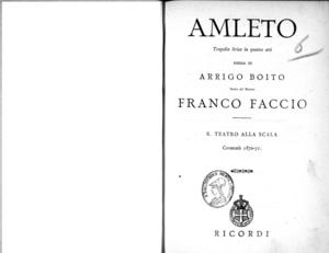 Amleto : tragedia lirica in quattro atti