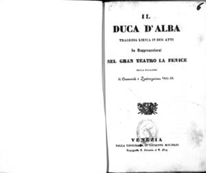 Il Duca d'Alba : tragedia lirica in due atti