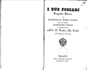 I due Foscari : tragedia lirica