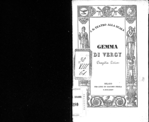 Gemma di Vergy : tragedia lirica in due atti