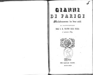 Gianni di Parigi : melodramma in due atti