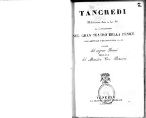 Tancredi : melodramma serio in due atti