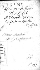 La gara per la gloria, divertimento teatrale per musica da rappresentarsi nel teatro di S. Mosè gl'ultimi giorni del Carnovale 1744