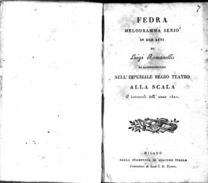 Fedra, melodramma serio in due atti di Luigi Romanelli da rappresentarsi nell'Imperiale Regio Teatro alla Scala il carnevale dell'anno 1821