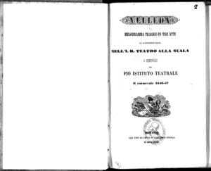 Velleda : melodramma tragico in tre atti da rappresentarsi nell'I. R. Teatro alla Scala a beneficio del Pio Istituto Teatrale il carnevale 1846-47