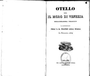 Otello ossia Il moro di Venezia : melodramma tragico