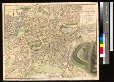 Plan of Edinburgh and its environs. W0031305; W0030955; N0555750; N0555619[kartografický dokument] /from a survey by James Knor. Engraved by R. Scott Edin[bu]r[gh].