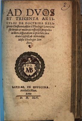 Ad duos et triginta articulos de doctrina religionis Christianae