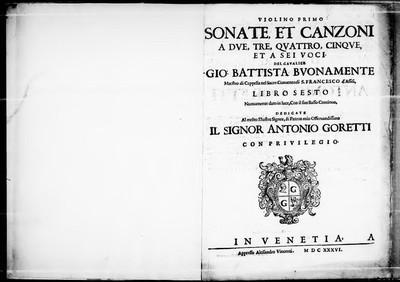 Sonate, et canzoni a due, tre, quattro, cinque, et a sei voci [...] libro sesto [...]