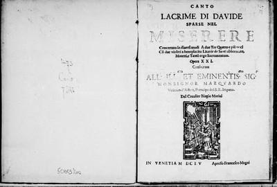 Lacrime di Davide [...] Opera XXI [...]