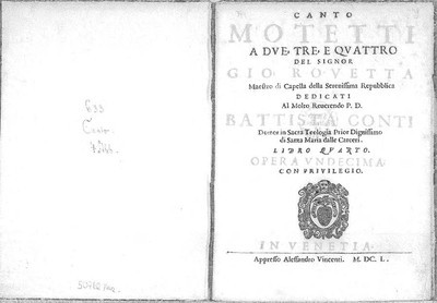 Motetti a due, tre e quattro [...] Libro quarto, opera undecima