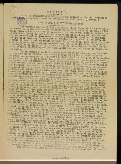 Demócrito / Unión de Intelectuales Libres de la primera quincena de Noviembre de 1946, nº 34.