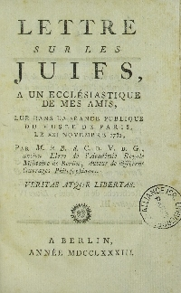 Image from object titled Lettre sur les juifs : à un ecclésiastique de mes amis, lue dans la séance publique du Musée de Paris, le XXI novembre, 1782
