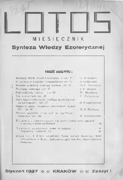 Lotos : miesięcznik poświęcony rozwojowi i kulturze życia wewnętrznego, 1937, R. 4, z. 1