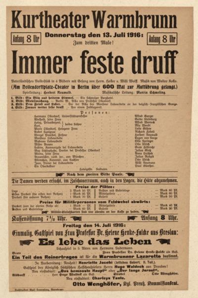 Immer feste druff. Vaterländisches Volkstück in 4 Bildern mit Gesang. Donnerstag den 13. Juli 1916