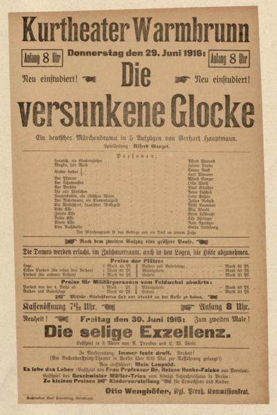 Die versunkene Glocke. Ein deutsches Märchendrama in 5 Aufzügen. Donnerstag den 29. Juni 1916