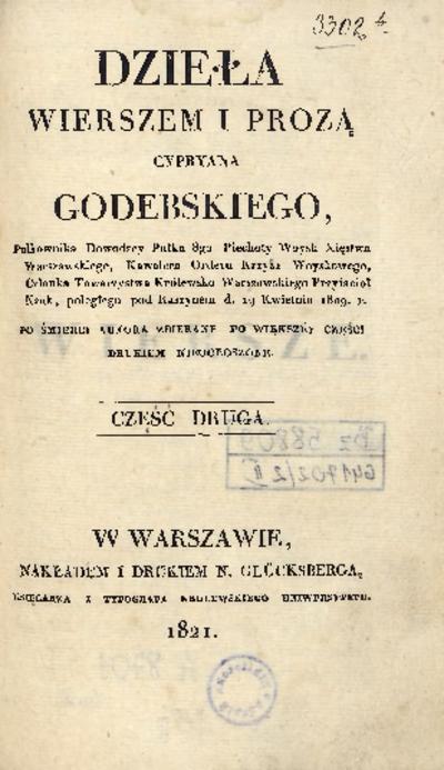 Dzieła wierszem i prozą Cypryana Godebskiego [...] Po śmierci autora zbierane po większéy części drukiem nieogłoszone. Cz. 2