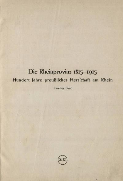 Die Rheinprovinz 1815-1915 / Band 2