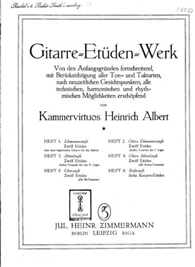 Gitarre-Etüden-Werk ; Heft 1 - Heft 2; H. 1 : Elementarstufe; H. 2 : Obere Elementarstufe