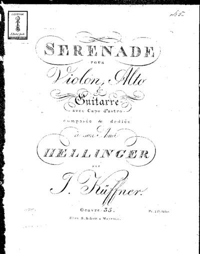 Sérénade pour violon, alto & guitarre avec capo d'astro...Oeuvre 35