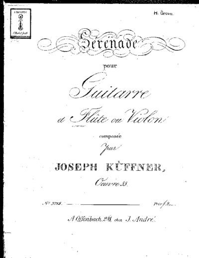 Sérénade pour guitarre et flûte ou violon...Oeuvre 55
