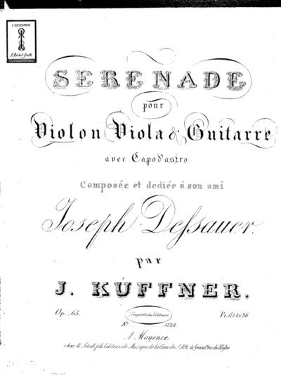 Image from object titled Sérénade pour violon, viola & guitarre avec capo d'astro...Op. 65