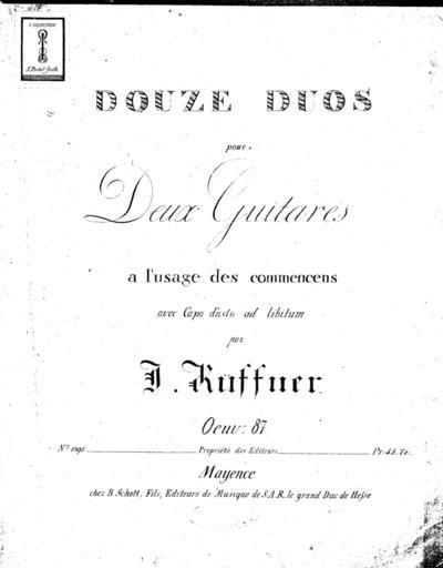 Douze duos pour deux guitares à l'usage des commençens avec capo d'astro ad libitum : Oeuv. 87