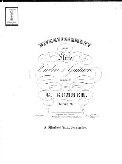 Divertissement pour flûte, violon & guitarre...Oeuvre 92