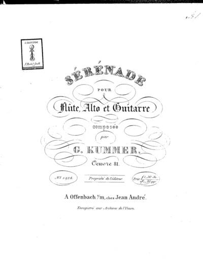 Sérénade pour flûte, alto et guitarre... Oeuvre 81