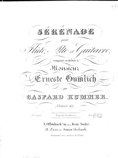 Sérénade pour flûte, alto et guitarre... Oeuvre 83