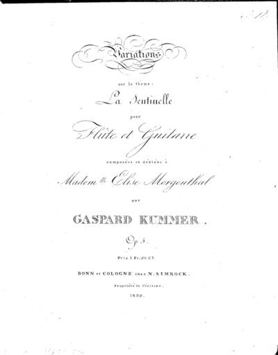Variations sur le thême: La sentinelle pour flûte et guitarre, Op. 5