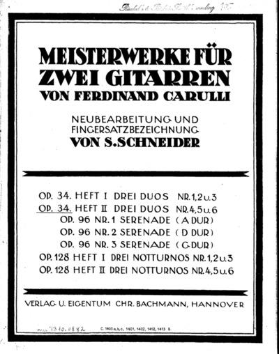 Meisterwerke für zwei Gitarren : Op. 34. Heft II