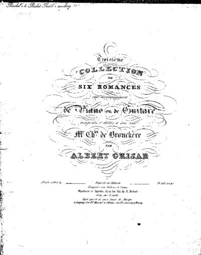 Troisième collection de six romances avec accompagnement de piano ou de guitare...