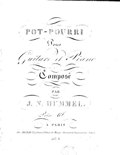 Pot-pourri pour guitare et piano : (Oeuv. 53)