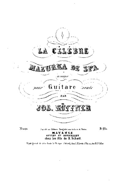 La ¤célébre mazurka de Spa arrangée pour guitare seule