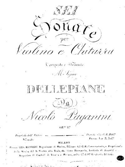 Sei sonate per violino e chitarra, Op.a 2.a