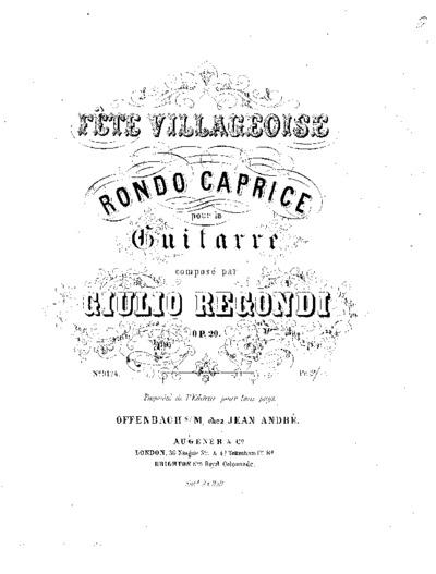 Fête villageoise : Rondo caprice pour la guitarre, Op. 20