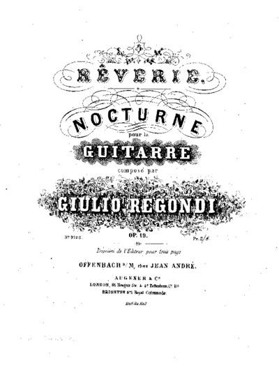 Rêverie : Nocturne pour la guitarre, Op. 19