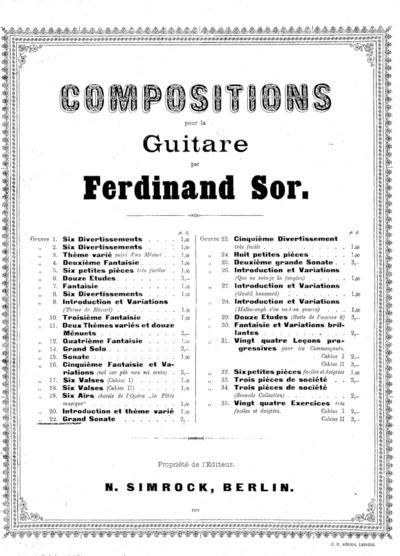 Grand sonate : Oeuvre 22; Compositions pour la guitare