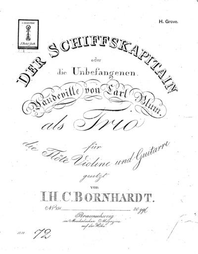 Der ¤Schiffskapitain oder Die Unbefangenen : als Trio für die Flöte, Violine und Guitarre gesetzt : No. 131