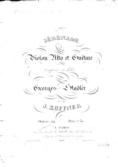 Sérénade pour violon, alto et guitare... Oeuvre 214
