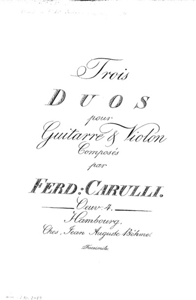 Trois duos pour guitarre et violon : Oeuv: 4 : Facsimile