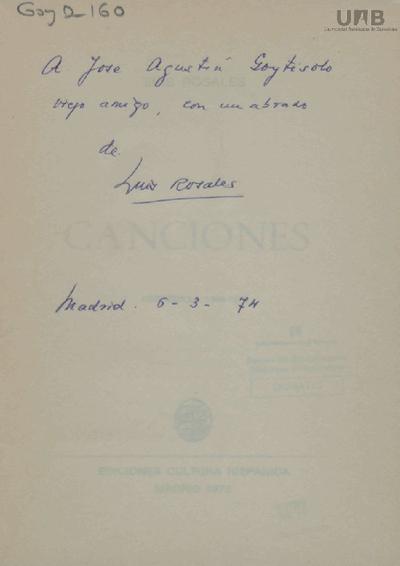 Dedicatòria de Luis Rosales a José Agustín Goytisolo