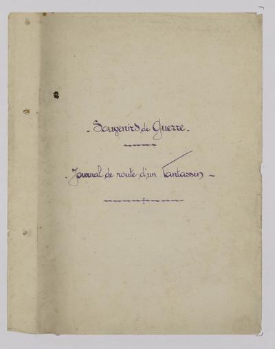 Image from object titled FRBNBU-146 Souvenirs de guerre d'Albert Valée : Journal de route d'un fantassin,