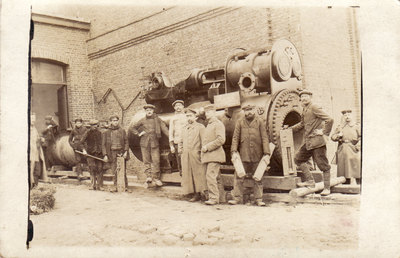 Image from object titled German soldiers at the railroad works KORTRIJK (Belgium)