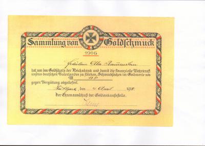 Image from object titled Ehrenurkunde der Goldankaufstelle